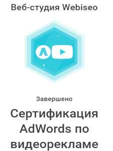 сертификат специалиста webiseo по видеорекламе
